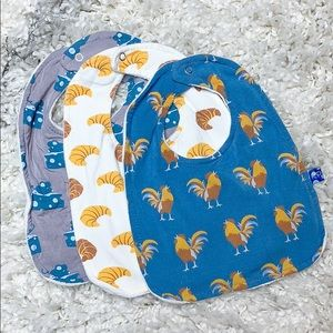 Kickee Pants Parisian Rooster Bibs Croissants Mice